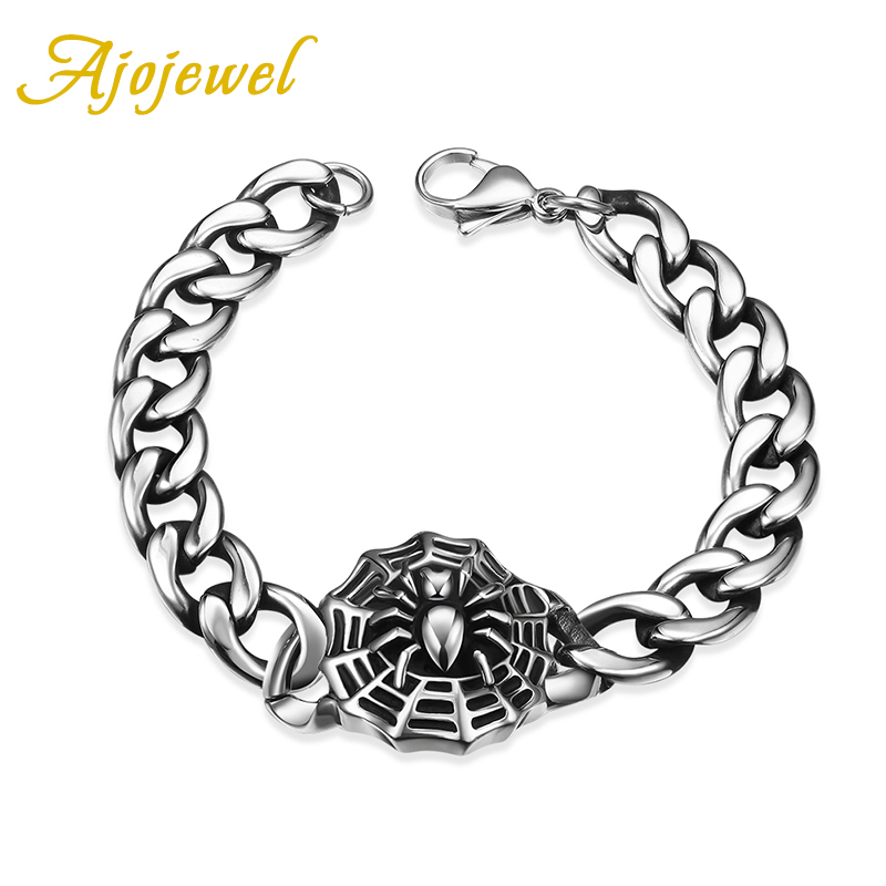 Ajojewel Men's Fashion Spider Charm Stainless Steel Bracelet Punk Style Thick Chain Vintage Jewelry(China (Mainland))