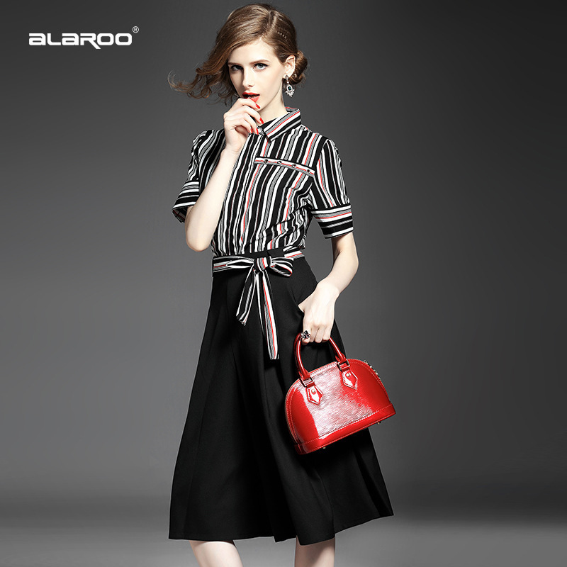 summer style 2015 dress new European women's lapel Slim vertical striped short-sleeved shirt + culottes suit pure co - LADY SARA'S FASHION STORE store