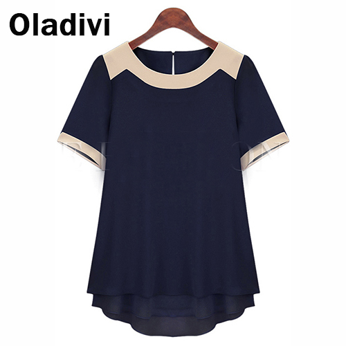6XL Plus Size Women Clothing Short Sleeve Pachwork Chiffon Blouses Summer Wear Fashion 2016 Female Tops Shirt XXXXXXL/5XL TS013 - Oladivi official store