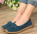 Fashion women genuine leather shoes lace up women flats driving loafers all match single walking shoes