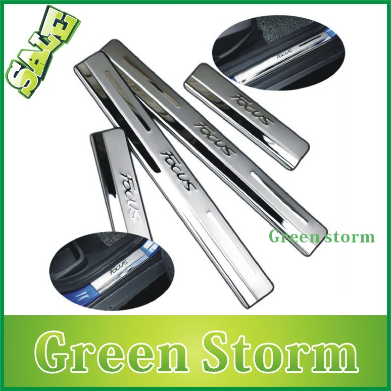 Freeshipping 2012 2013 Ford Focus stainless steel scuff plate door sill car accessories focus 3 - Green Storm Automobile Products co., LTD store