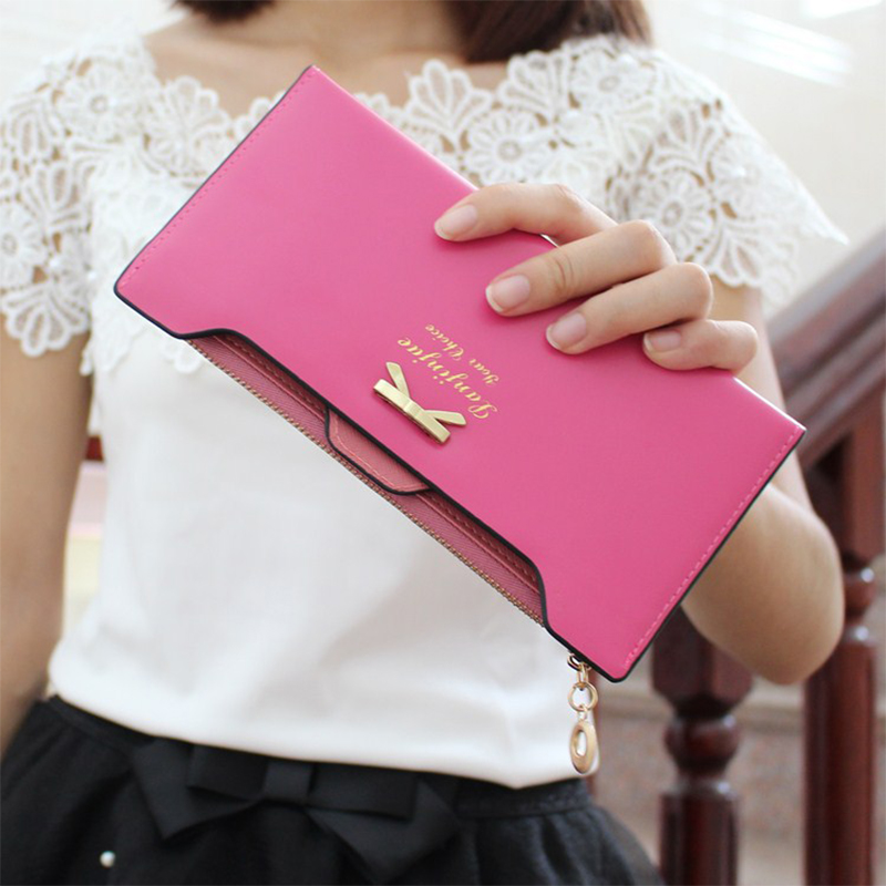 2016 Womens Fashion Bow Knot Long Wallets Brand PU Leather Multifunction  Card Holder Coin Purse Vintage Zipper Clutch BW02<br><br>Aliexpress
