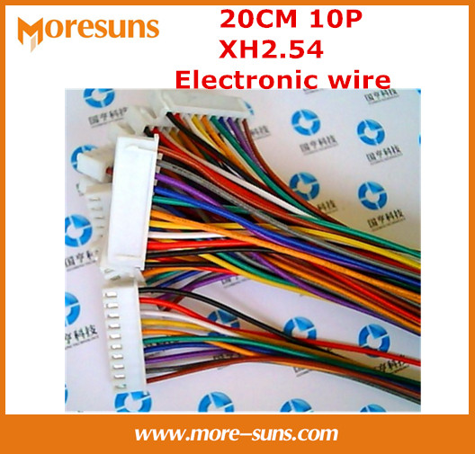 Free shipping 200pcs/lot  20cm 10pin XH2.54 electronic wire with single rubber plug and another end of tin electronic cable<br><br>Aliexpress