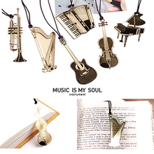 Romantic Golden Musical Instrument Bookmark 6 style Scrapbooking Decor Birthday Gift Xmas Party Photo Album Diary FREE SHIPPING(China (Mainland))