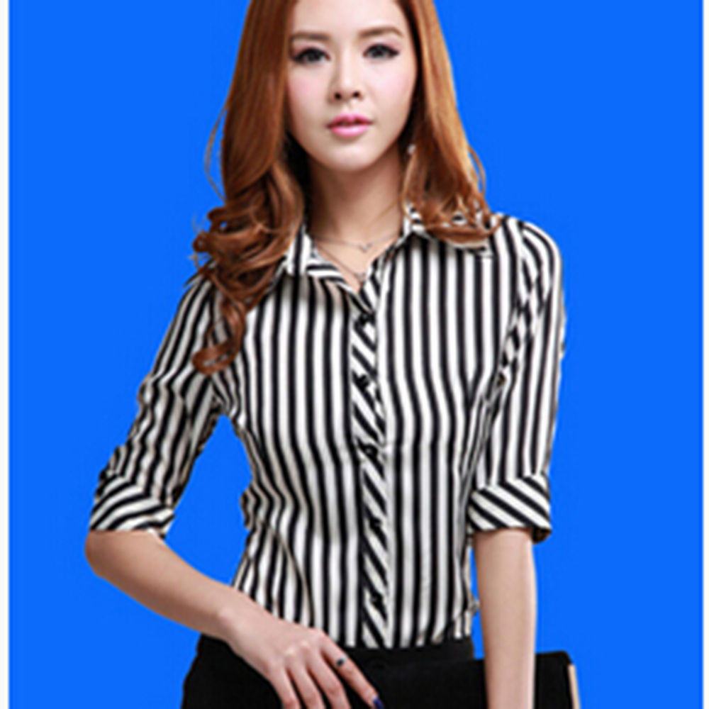 Blusas Femininas 2016 shirt women chiffon tops elegant ladies formal office blouse 3 colors work clothes Plus size XXL F15051802(China (Mainland))