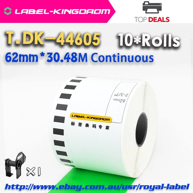 10 Rolls Brother DK-44605 Generic Label 62mm Continous DK-4605 Label DK-4605 Compatible Green Color(China (Mainland))