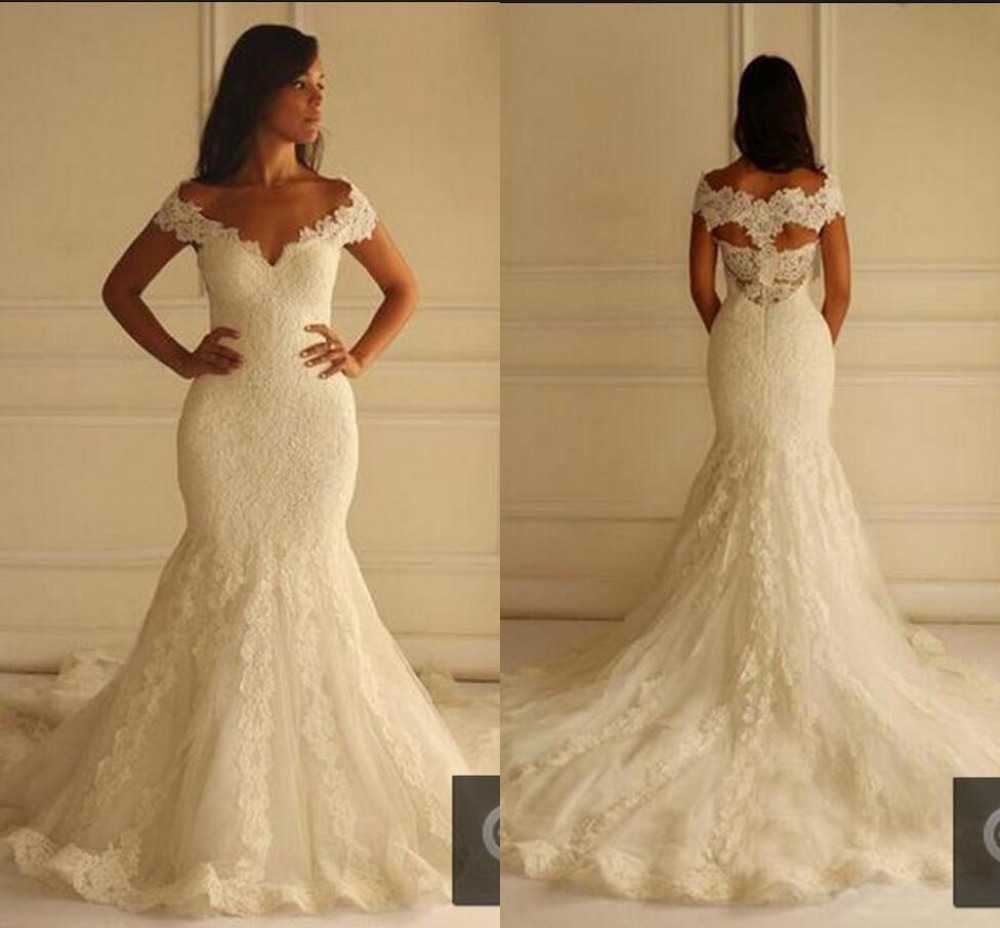 Ivory lace mermaid wedding dresses 2016 cap sleeve long for Custom mermaid wedding dress