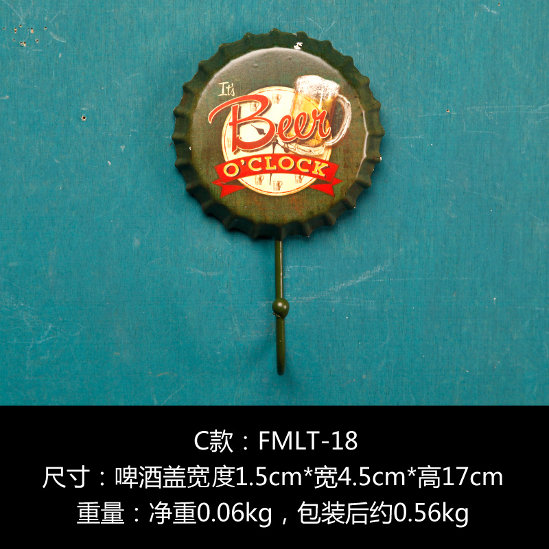 """BEER O'CLOCK""Vintage Metal Painting Beer Cap Clothes Hook Bar Pub Gallery Shop Wall Decor Retro Mural Poster Home Decor Craft(China (Mainland))"