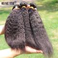 7A Brazilian Virgin Hair Kinky Straight Coarse Yaki 3 pcs Brazilian Yaki Straight Hair 10 30