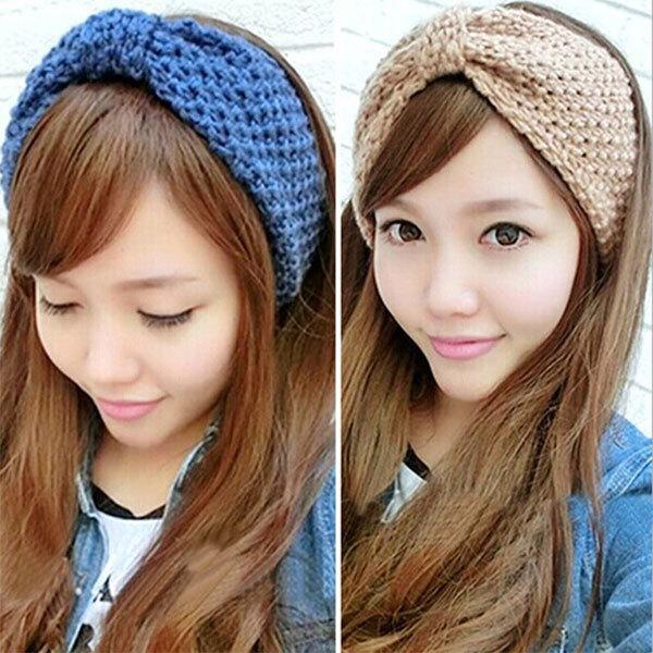 Hot Selling New Crochet Headband Knit Hairband Flower Bow Winter Women Ear Warmer Headwrap YRD(Hong Kong)
