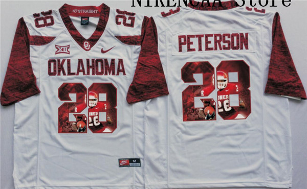 NikeOklahoma Sooners White PETERSON # 28 Star and Players pictures T-shirt Limited Jersey(China (Mainland))