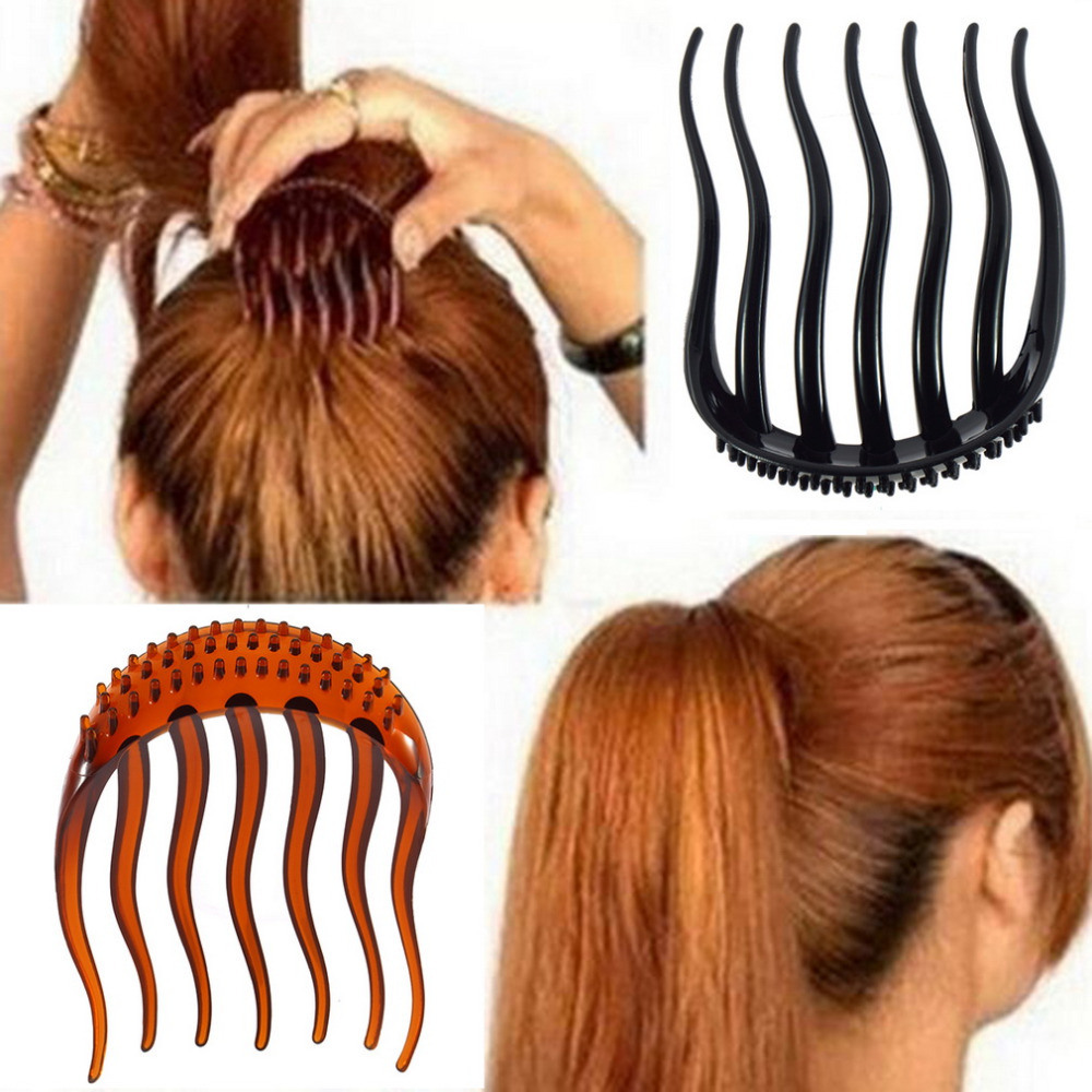 New Inserted Combs Fashion black and Coffee Women Combs Hair Care Women Fluffy Pony Tail Styling Tools(China (Mainland))