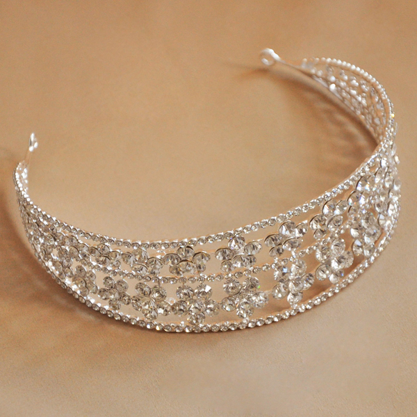 Free Shipping 2015 New Vintage Quinceanera Rhinestone Gem Silver Big Porta Coque Tiara Crown For Wedding Prom Party Bride gift