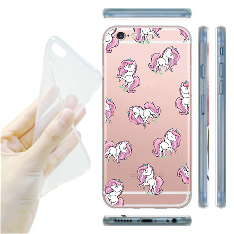 Transparent Unicorn Angel Horse Pattern Cell Phone Case For iphone 6 6s plus Clear Soft Plastic