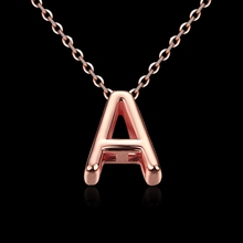 New 18K rose gold jewelry temperament European style classic letter A pendant fashion party necklace BKN016(China (Mainland))
