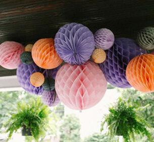 W 20cm=8 inch Tissue Paper Flowers balls pom Poms honeycomb lantern Party Decor Craft Wedding Decoration multi whcn+(China (Mainland))
