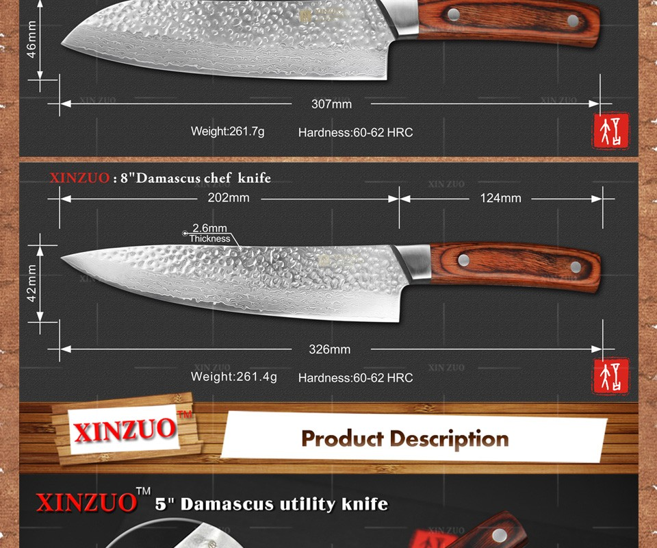Buy XINZUO 3 pcs Kitchen knives set Japanese Damascus kitchen knife surper sharp chef santoku knives Color wood handle free shipping cheap