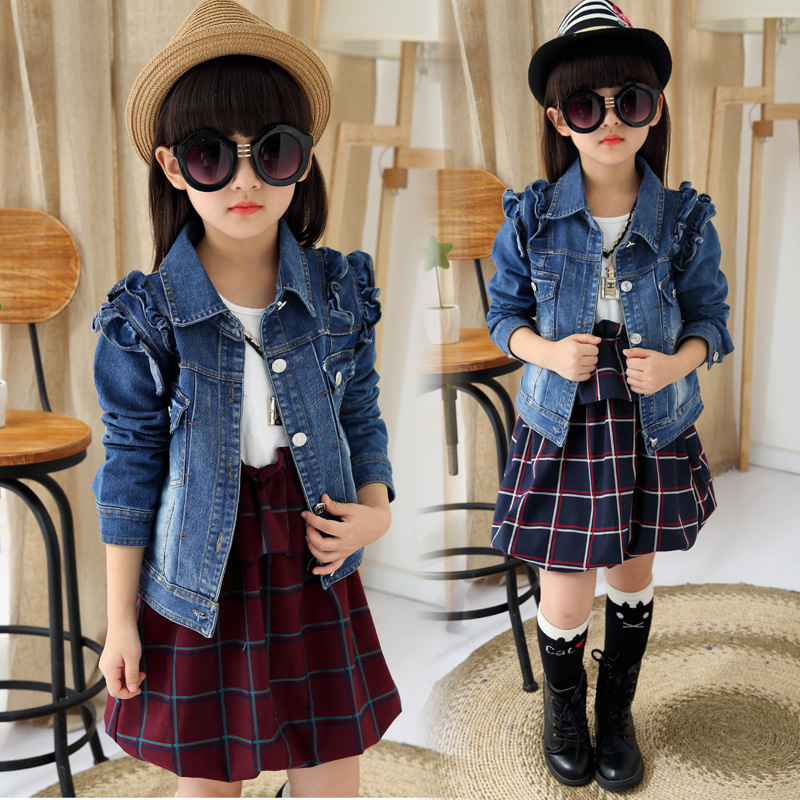 2016 Spring Girls Clothes Set Kids Baby Children Casual Tracksuit Girls Suit Long Sleeve Dress + Girls Denim Jackets Jeans 4-12Y(China (Mainland))