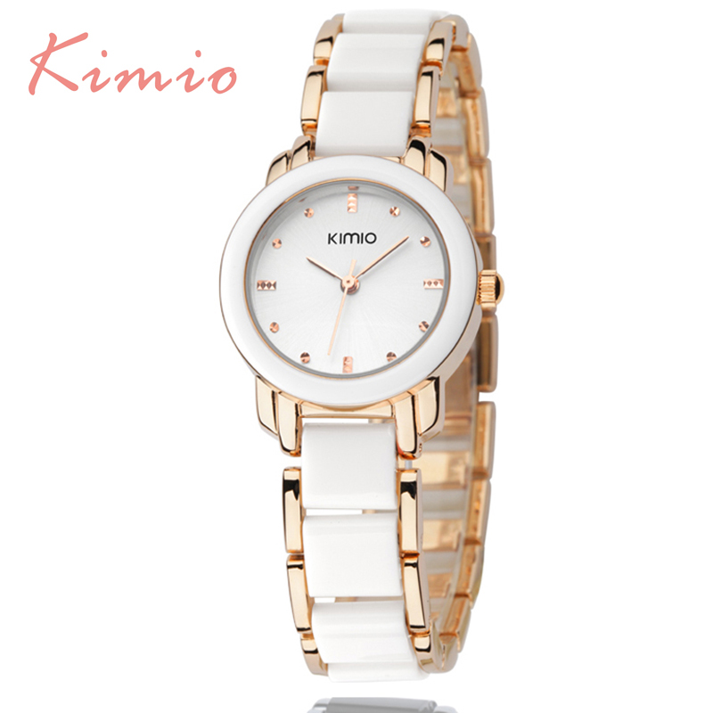 KIMIO Hot Sales Famous Brand Women's Watches Imitation Ceramic Bracelet Stainless Steel Watches Women 2016 Cheap Luxury Watches(China (Mainland))