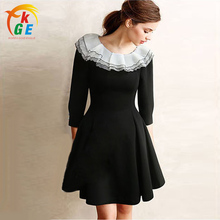 2016 Fashion Spring Autumn Dresses Women Ladies A-Line Double-layer Neckline Ruffles Mini Dresses For Women Female H568(China (Mainland))