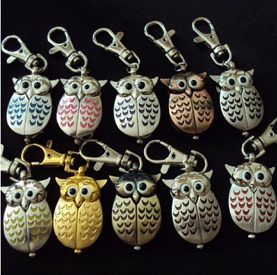 Free shipping 40pcs lot Mixed Bulk 10 Color Owl KeyRing Watch Xmas Gifts
