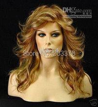 100% Japanese Kanekalon (stunning )long wavy Gold blonde Mixed wig 50pcs custom made(China (Mainland))