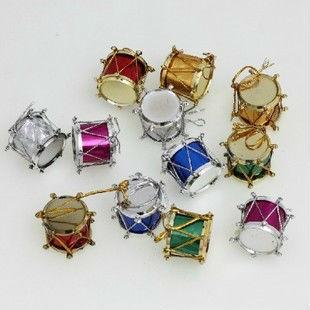 Wholesale free shipping Low Price fashion mulcticolour Mini 2.3CM Christmas party tree drum/surname Ornaments/pendants 12PCS/Bag(China (Mainland))