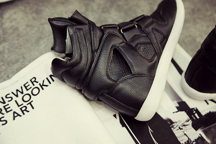 Women Casual Shoes Hidden Wedges Canvas Shoes Ladies Black White Platform Boots Shoes For Women High Heel Top Hook & Loop 35-41