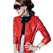 Autumn,Winter Women Cheap PU Leather Jackets coat ladies lace slim water washed motorcycle jackets feminina DP668699(China (Mainland))