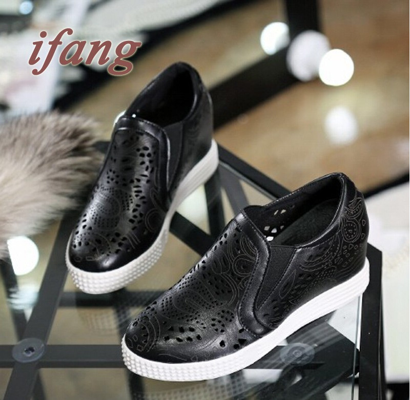 Spring Heavy-Bottomed Leather Platform Shoes Womans Casual Shoes Slope With A Single Shoe In The Hollow Round With Women Flat<br><br>Aliexpress