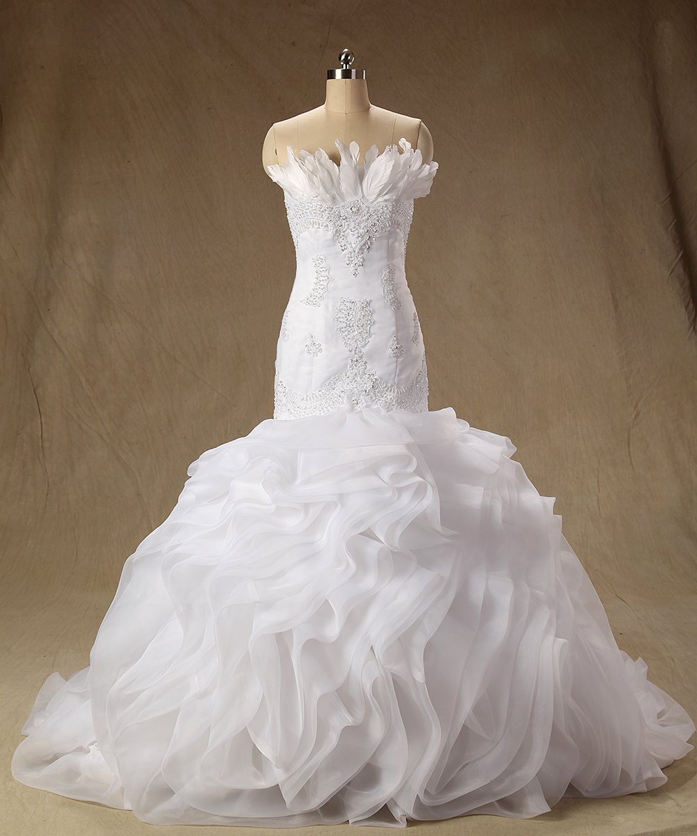 gorgeous real photos wedding dresses organza ruffles