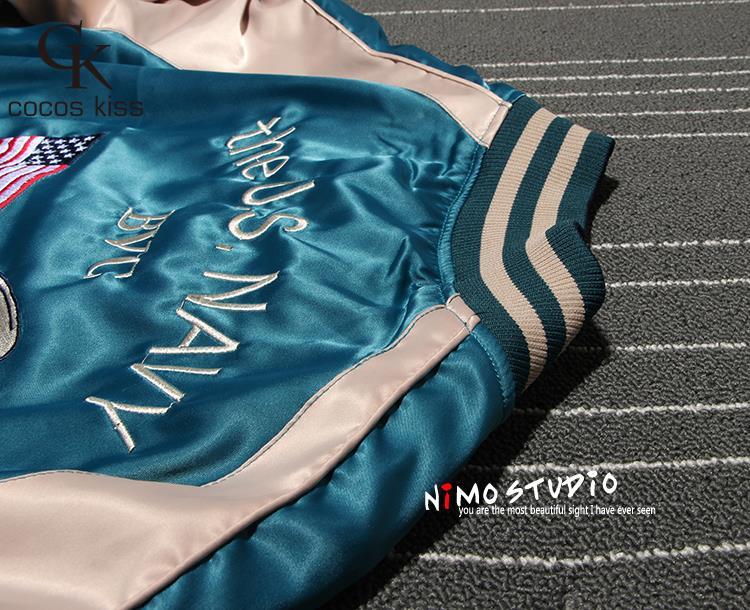 Два Боковых Носите японского журавля Цветы Роскошные Вышивки Бейсбол Куртка Женщин Уличная Весна Куртка Верхней Одежды Пальто Плюс Размер