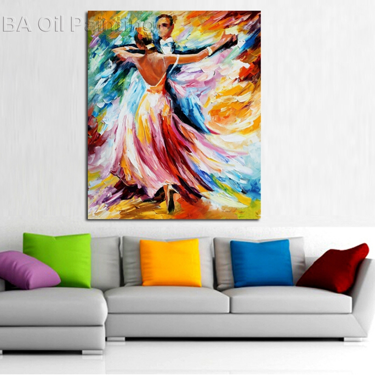 Free Shipping100% Hand-painted Lovers Dancing Art Wall Art Pop Art Oil Painting On Canvas High Quality(China (Mainland))