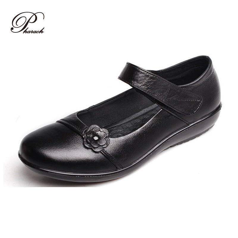 High quality Genuine Leather Autumn women flat shoes mary janes flats appliques shoes woman(China (Mainland))