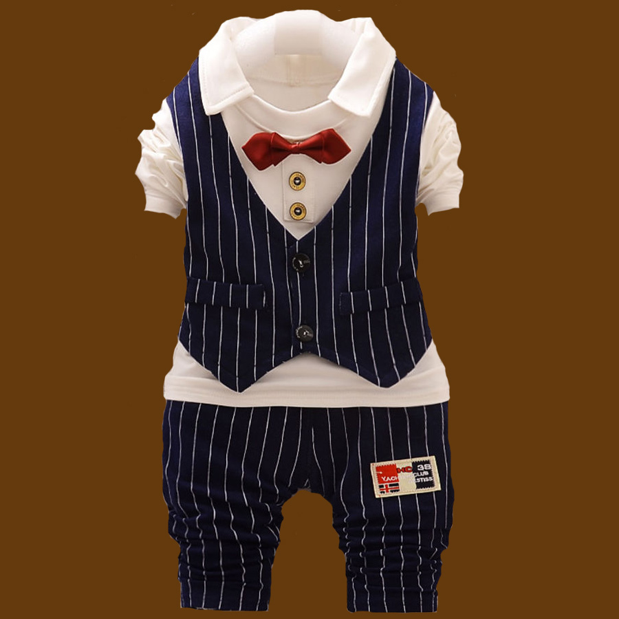 2016 new Spring Gentleman style baby boys striped clothing sets bow tie long sleeve tops trousers suits for Toddler Boy Clothes<br><br>Aliexpress