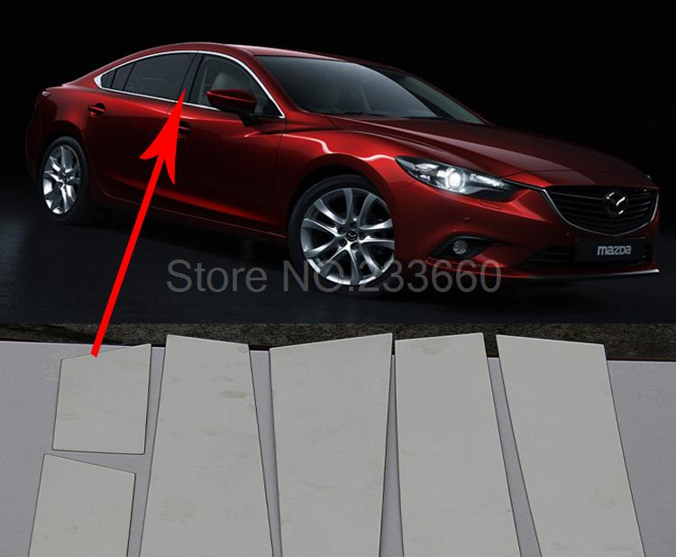 Mazda 6 Atenza 2013 2014 Stainless Steel Window frame Middle pillar Trim Cover