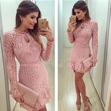 2015 New Women Fashion Casual Lace Dress long sleeves O-Neck Pink Evening Party Dresses Vestido de festa Brasil Trend(China (Mainland))