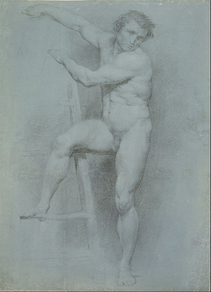 Canvas Art Prints Stretched Framed Giclee Famous Artist Oil Painting Pompeo Girolamo Batoni <font><b>Italian</b></font> Male Nude Leaning On Ladder