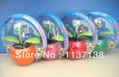 Wholesale Free Shipping 15 Pcs Per Lot Magic Cute Frog Top Dancing Flip Flap Novelty Solar Flowers(China (Mainland))