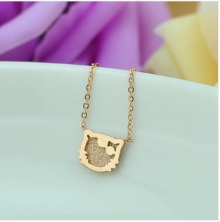 New design titanium 14K rose gold woman/girl choker necklace with lovely Hello Kitty little cat pendent(China (Mainland))