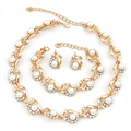 Classic Imitation Pearl Necklace Sets Gold Plated Flower Design Women Wedding Bridal Accessories Cotume Pearl Jewelry