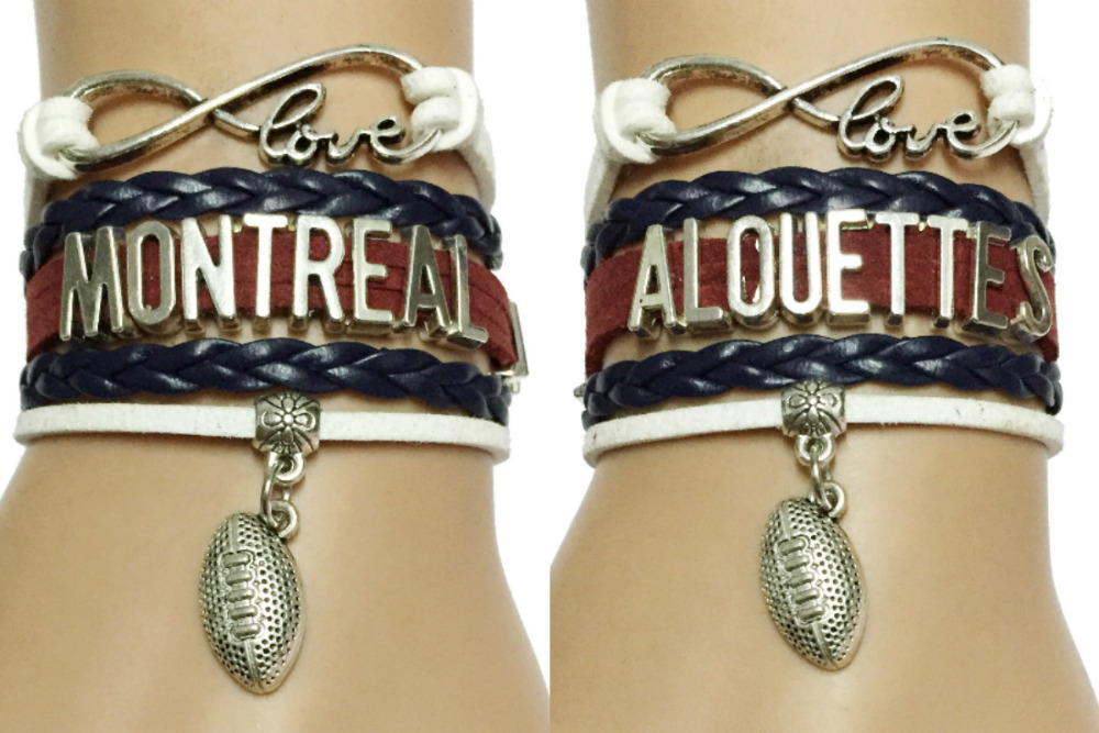 Drop Shipping Infinity Love Montreal Alouettes Canada Football Charm Bracelets-Customized CFL Team Clubs Sports Cheering Gift(China (Mainland))