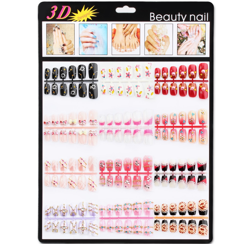 Candy Lover 144 pcs 12 style sweet color rhinestones noble 3D False nails fake Nail wedding bride(China (Mainland))
