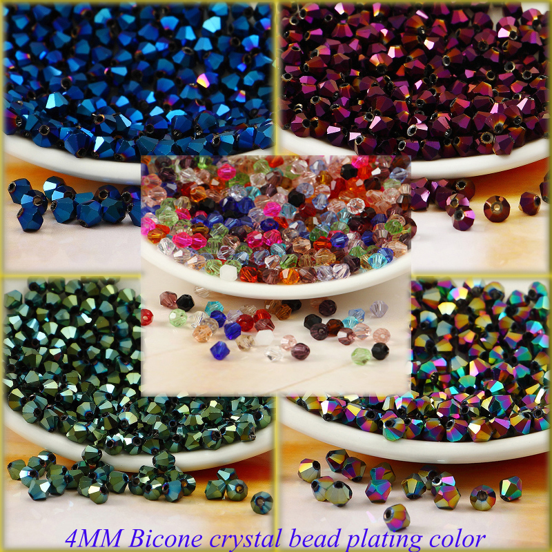 Boutique High quality 4MM Bicone Austria crystal loose beads supply AB color plating ,bracelet necklace Jewelry Making 120PCS(China (Mainland))