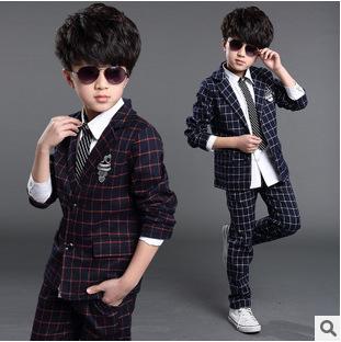 formal children's suits clothing set boys 2 pieces coat+pants 150 160 cm big clothes plaid 2015 summer size 8 9 years old - Dou Kids store