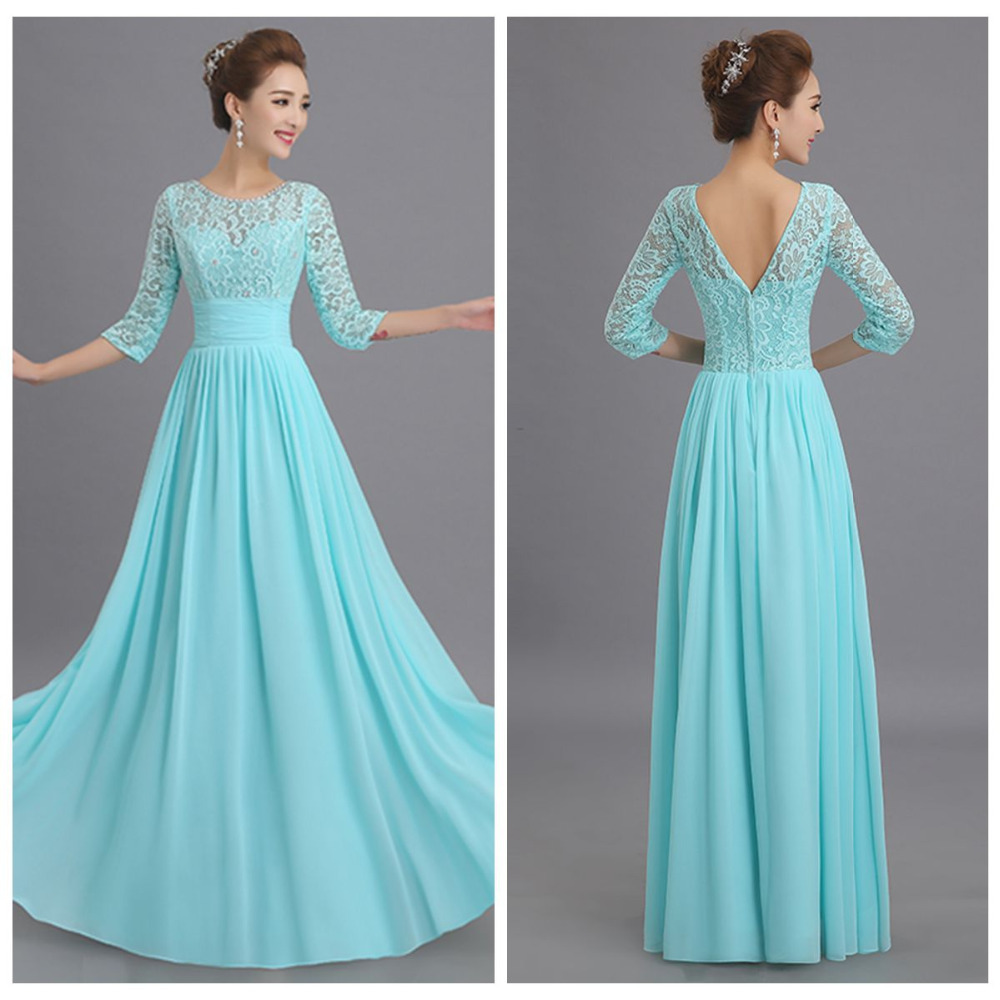 Milan to wholesale 2015 new elegant lace aqua blue 3 4 for Blue long dress wedding