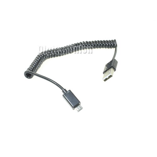 3ft/1m Spiral Coiled USB 2.0 A Male to Micro USB B 5Pin Adaptor Sync Data Charger Black Color Cable(China (Mainland))