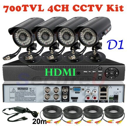 Best 4ch channel cctv security kit cheap home business surveillance alarm thermal system 700TVL video monitor camera D1 HD DVR(China (Mainland))