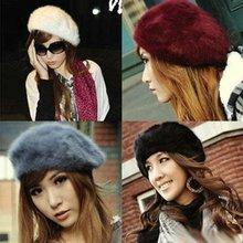 Women'S Elegant Multicolor Artist Rabbit Fur Lapin Newsboy Beanie Beret Hat Fashion Accessories(China (Mainland))