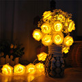 2 2m 20 LED Rose String Fairy Lights Battery Operated Flower Wedding Party Decoration Lights Lamp